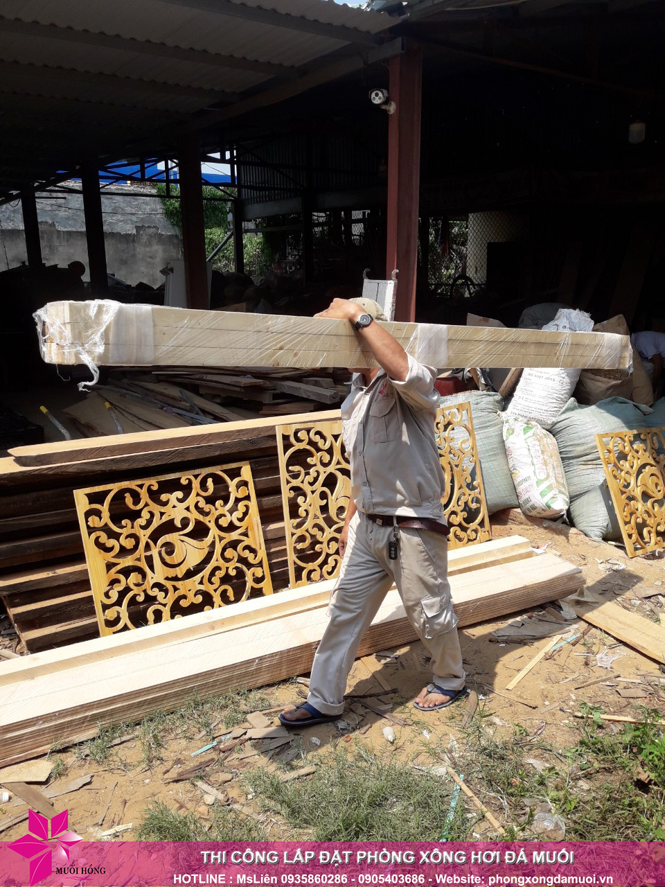 chuyến xe chở nguyên vật liệu công trình spa jjimjilbang cẩm phả đã lăn bánh 4
